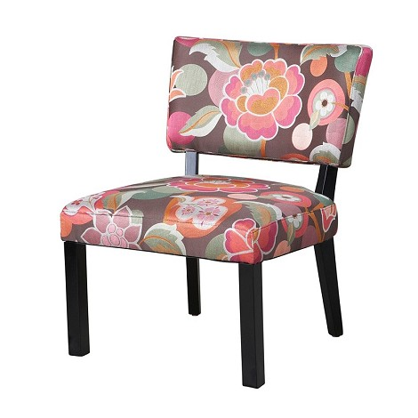 383-560 Pink and Brown Floral Accent Chair