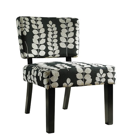 741-607 Black and Cream Floral Oliver Accent Chair