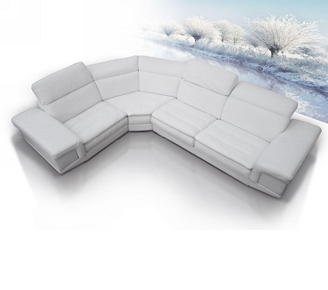 Queen - Full Top Grain Italian Leather Sectional Sofa Set with Built-In iPhone Dock & Speakers