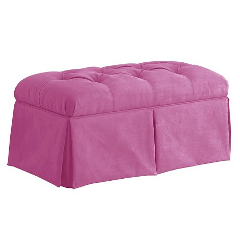 Skirted Storage Bench In Velvet Bling