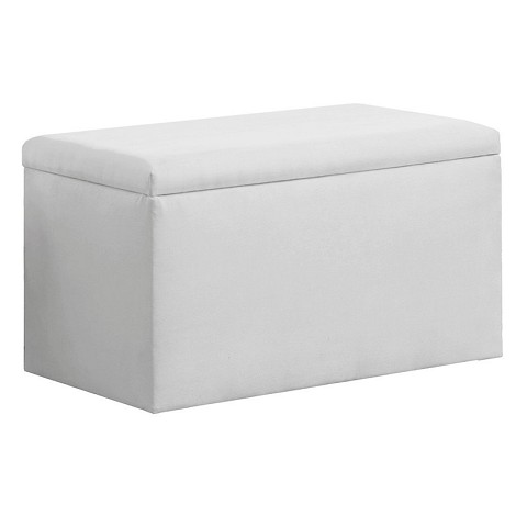 Upholstered Storage Bench In Micro-Suede White