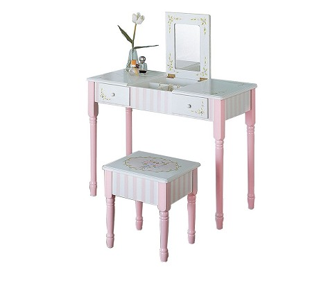 Teamson Kids Girls Vanity Table and Stool Set - Bouquet
