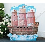 Teamson Kids Pirate Boat Play House with Furniture