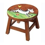 Teamson Kids Zebra Wooden Stool - Safari