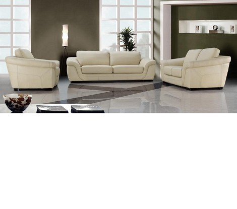0710 - Modern Beige Leather Sofa Set