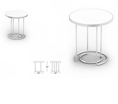 1019B - Modern White End Table