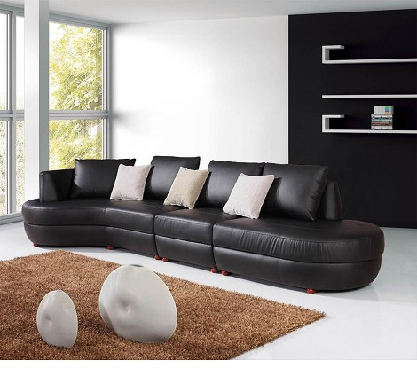 2289 - Modern Bonded Leather Sectional Sofa