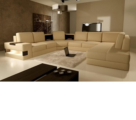 5021 - Modern Bonded Leather Sectional Sofa