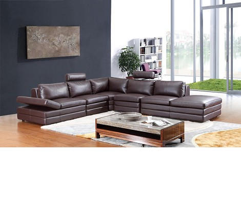 614 - Modern Brown Sectional Sofa