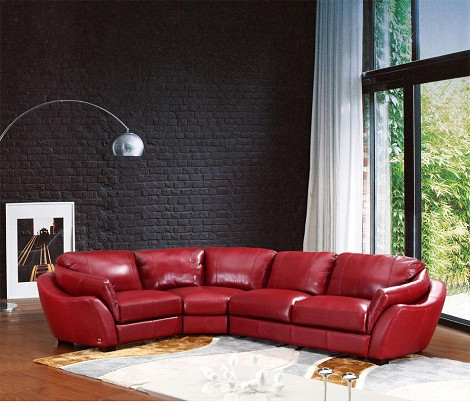 622 - Modern Italian Leather Sectional Sofa