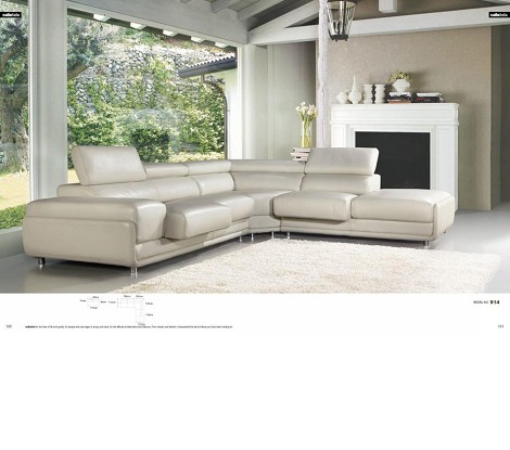 914 - White Top Grain Leather L Shape Sectional Sofa