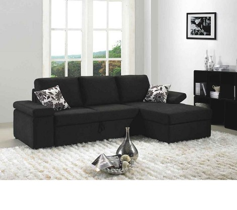 Avalon - Black Fabric Sectional Sofa Set with Bed