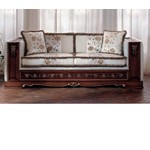 San Marco Dark Walnut Divan with White Fabric Cushions