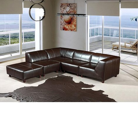 Bella Italia Domino Upholstered ECO Leather Espresso Sofa w. Ottoman