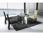 CT-78 Modern Black and White Glass Dining Table