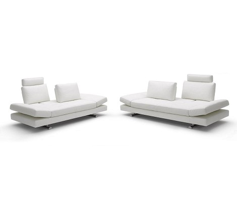 Contemporary White Leather Sofa and Love Seat