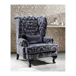 Divani Casa Metropolitan - Tall Fabric Leisure Chair with Acrylic Crystals