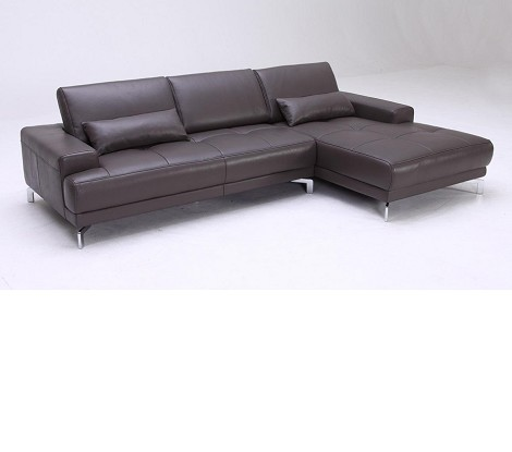 Divani Casa Spirea - Modern Full Leather Sectional Sofa with Adjustable Backrests