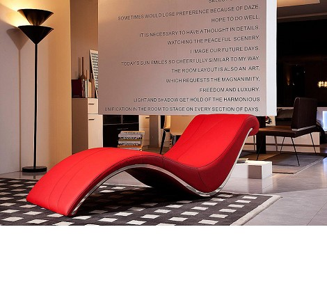 Essen Modern Red Leather Leisure Lounge Chaise