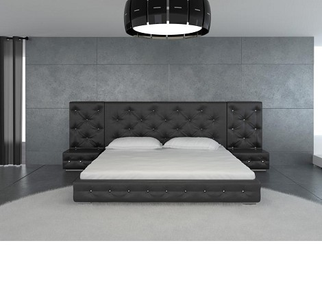 Melody - Black Modern Leather Platform Bed