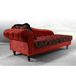 Metropolitan Red Fabric Chaise with Crystals
