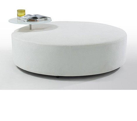 Modern White Fabric Ottoman and End Table