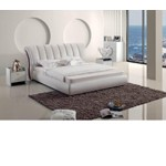 Modern White Tufted Leatherette Bed