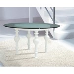 Nayri White Round Glass Dining Table