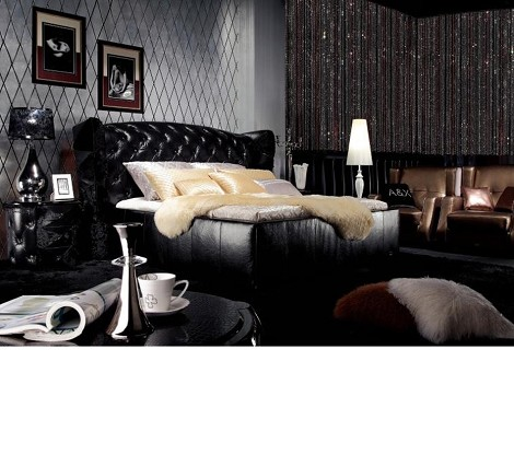 Royal - Black Ermine Leather Bed
