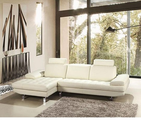 Savannah Modern Oatmeal Full Leather Sectional Sofa with Headrests