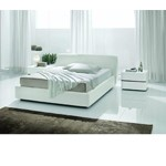 Strip - White Crocodile Texture Eco-Leather Bed - Made in Italy