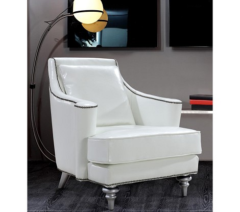 Tenor - White Modern Leather Lounge Chair