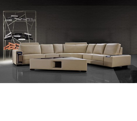 Tera - Beige Leather Sectional Sofa with Coffee Table