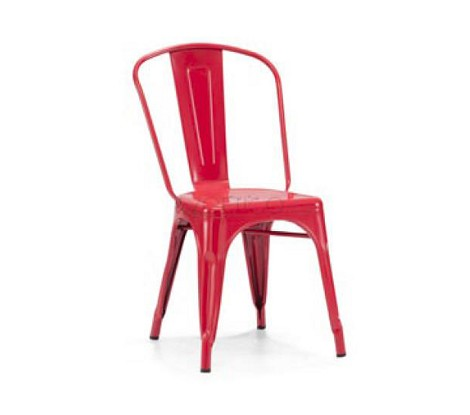T-5816 - Modern Red Metal Side Chair