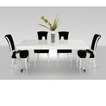 Mia - White Lacquer Modern White Dining Table