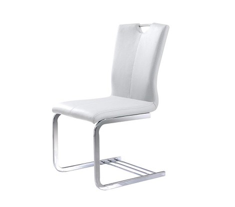 Y025 - Modern White Leatherette Dining Chair
