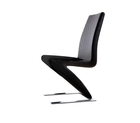 Y034 -Modern Pattern-Stitched Black Leatherette Dining Chair