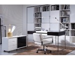Ezra - Black Veneer Office Desk with Side Cabinet