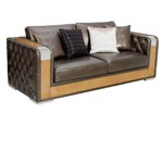 Brown Leather Deco Style Sofa