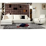 K8364 - Modern White Cow Accented Sectional Sofa Set