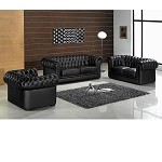 Divani Casa Paris - Transitional Tufted Leather Sofa Set